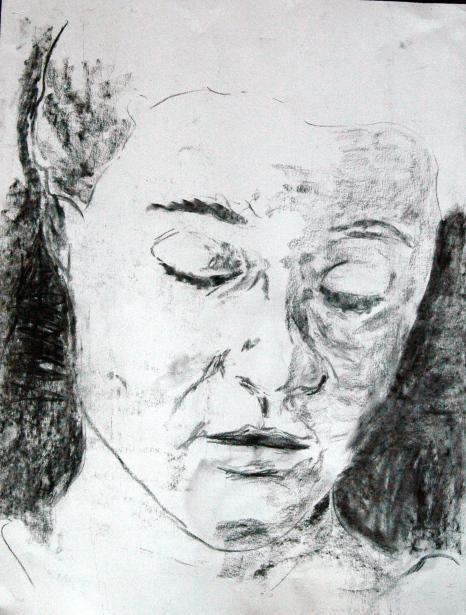 Self-portrait, 2012, Charcoal on paper, A2