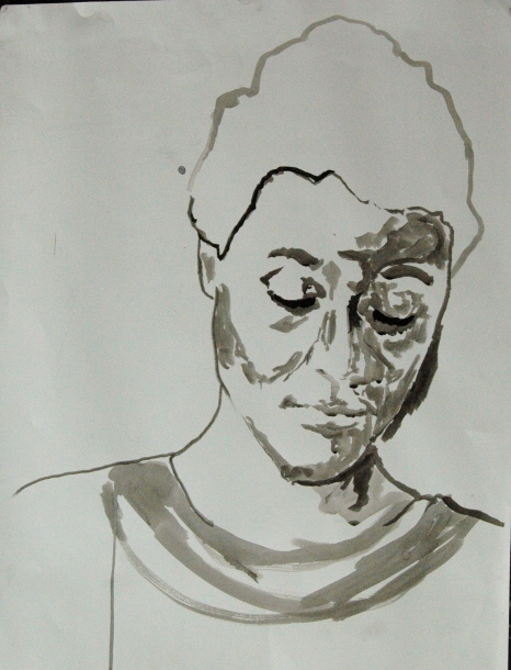 Self-portrait, 2012, chinese inc on paper, A2