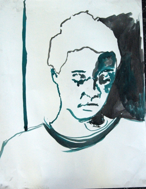 Self-portrait, 2012, Ecoline and chinese inc on paper, A2