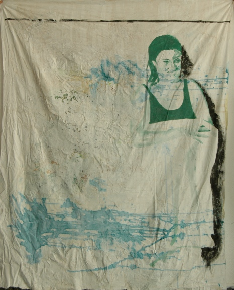 Untitled, 2013, wall paint on fabric, 160 cm x 150 cm